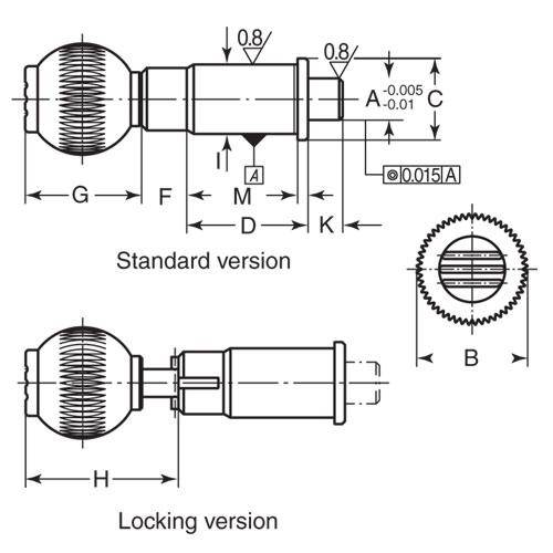 Diagram - Plungers - Indexing - Precision - With Support - Ball Grip