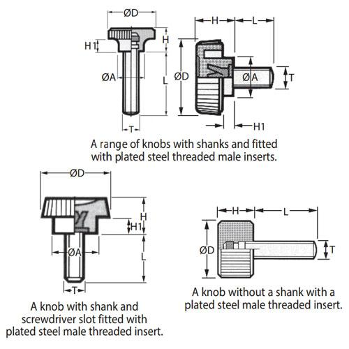 Diagram - Knobs - Knurled - Torque - Male