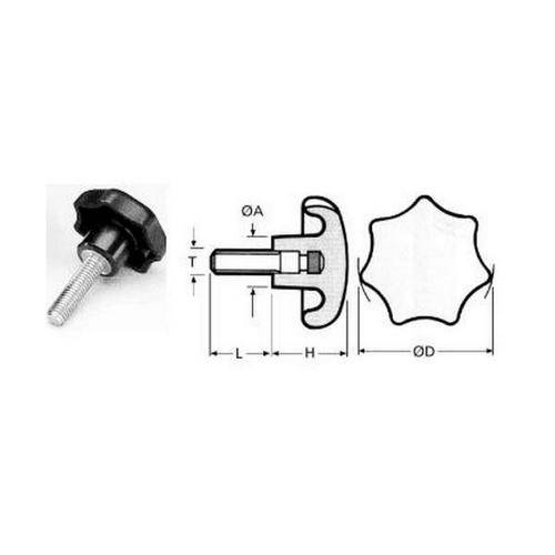 Diagram - Knobs - Star - Male - Plastic