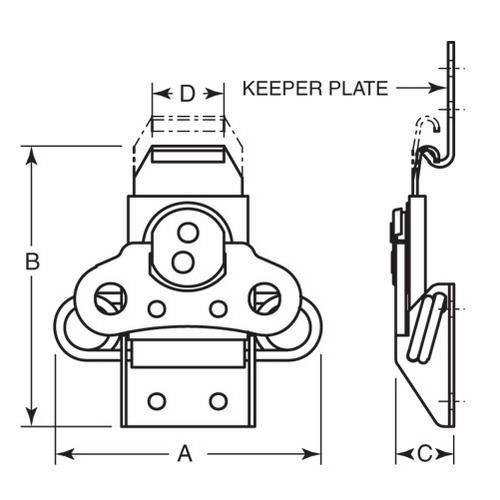 Diagram - Latches - Rotary Action - Link Lock - Spring Loaded - Stainless