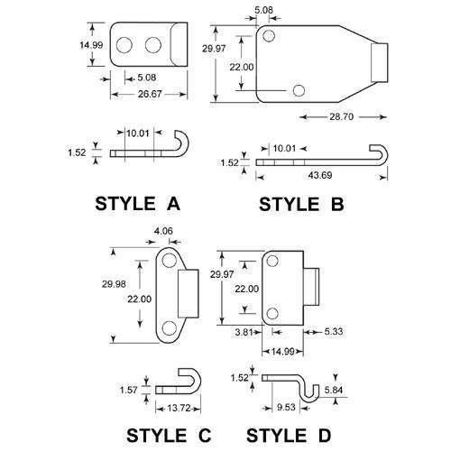 Diagram - Strikes - Toggle Latch - Stainless Steel