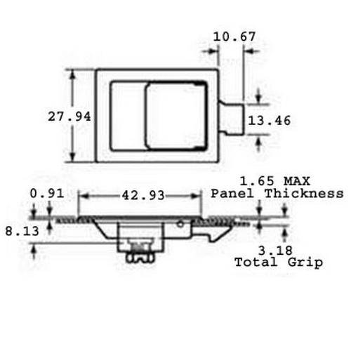 Diagram - Latches - Paddle - Flush - Miniature - 304 Stainless