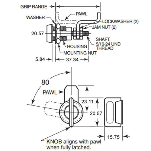 Diagram - Latches - Vise Action - Compression - Keylocking
