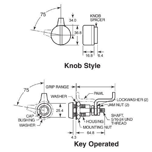 Diagram - Latches - Vise Action - Compression - Knob Style - Keylocking