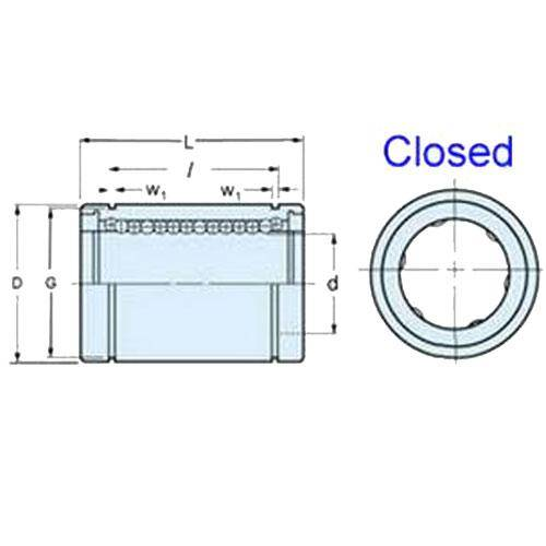 Diagram - Bearings - Linear - Ball - Stainless Steel - Closed