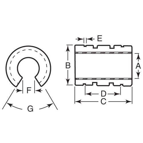 Diagram - Bearings - Linear - Frelon Gold Lined - Open - Standard