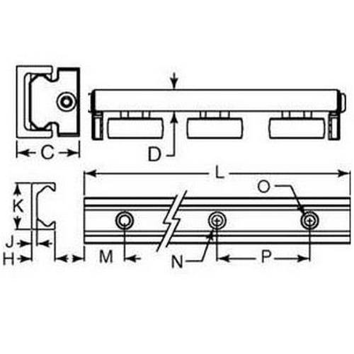 Diagram - Linear Slides - Utilitrak - PW - Crowned - Channel - Aluminium