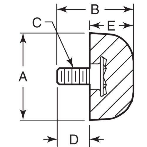 Diagram - Bumpers - Domed - Rubber
