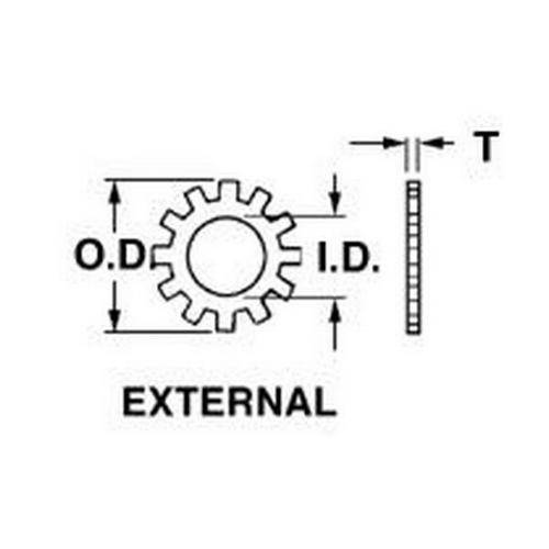 Diagram - Washers - Lock - External Tooth - Stainless Steel