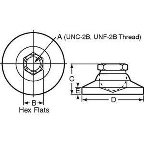 Diagram - Mounts - Leveling - Socket Type - 316 Stainless Steel
