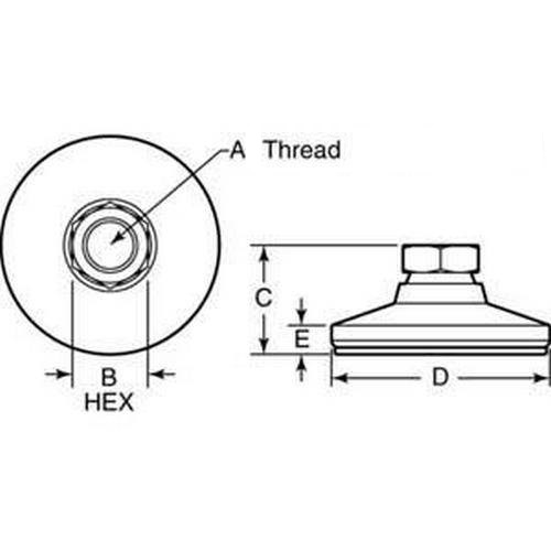 Diagram - Mounts - Leveling - Socket Type - 316 Stainless - With Pad