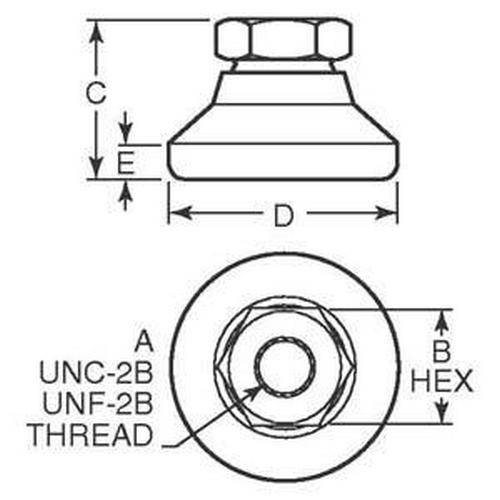 Diagram - Mounts - Leveling - Socket Type - 303 Stainless Steel 2