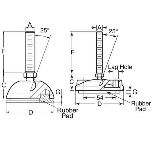 Diagram - Mounts - Leveling - Thermoplastic