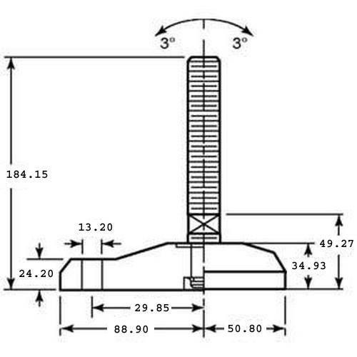 Diagram - Mounts - Leveling - Nylathane - Studded Type - Single Lag Hole