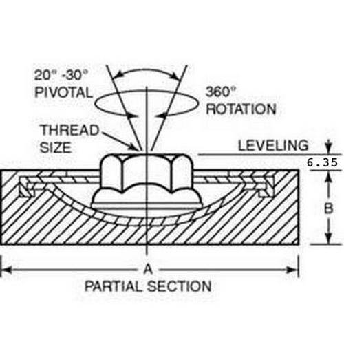 Diagram - Mounts - Pivotal Levelers - With Stud