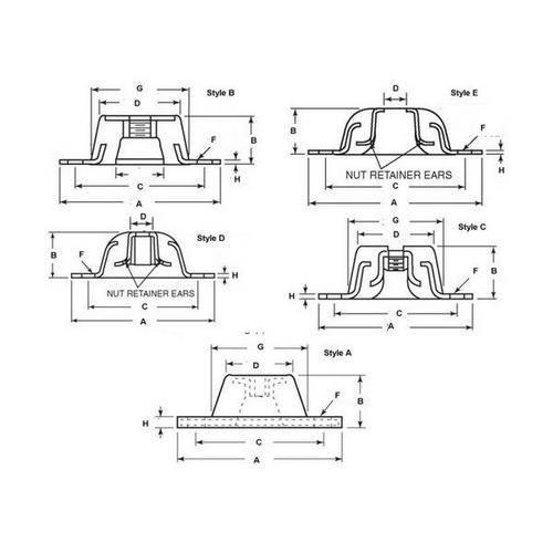 Diagram - Mounts - Base - Neoprene - Style 2