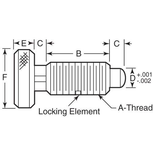 Diagram - Plungers - Spring - Knurled Handle - Locking - Stainless-Acetal