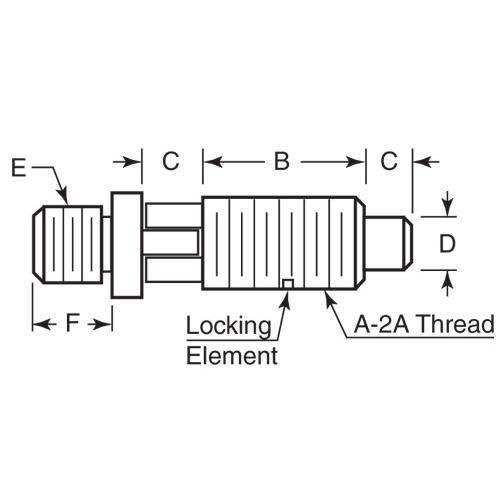 Diagram - Plungers - Spring - Threaded Adapter - Locking - Stainless