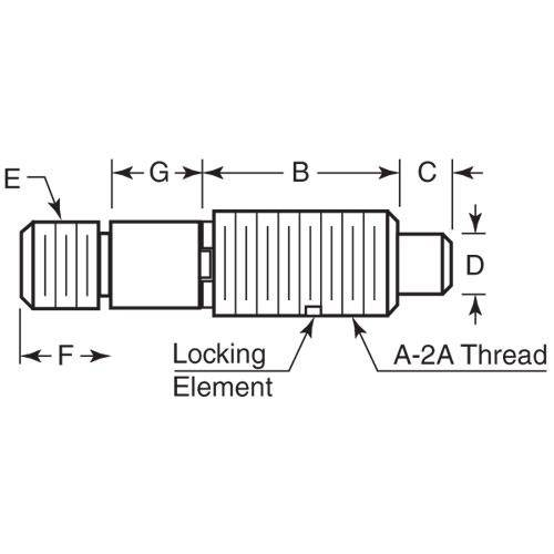 Diagram - Plungers - Spring - Threaded Adapter - Non Locking - Stainless