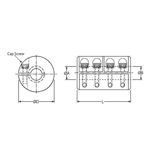 Diagram - Couplings - Rigid - 1 Piece Clamp - Stainless Steel