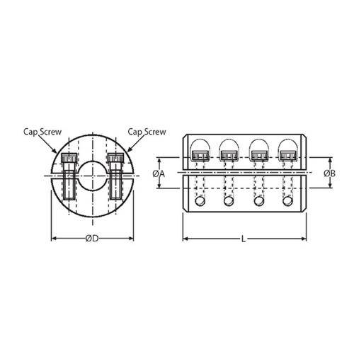 Diagram - Couplings - Rigid - 2 Piece Clamp - Steel
