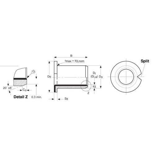 Diagram - Bushes - Steel - DP4 - Split - Flanged