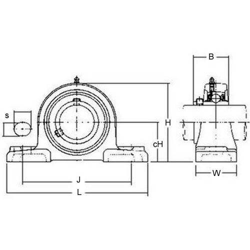 Diagram - Housings - Bearing - Pillow Block - Cast Iron