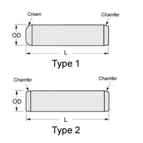 Diagram - Pins - Dowel - Standard - Chamfered End