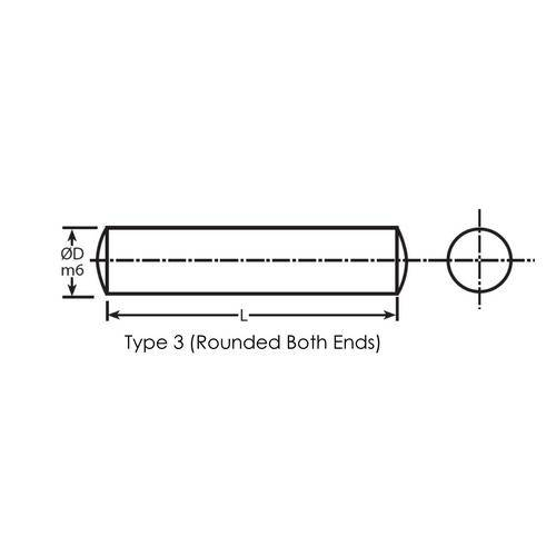 Diagram - Pins - Dowel - Standard - Unhardened Steel - Rounded Both Ends