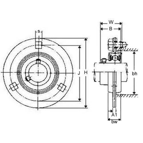 Diagram - Housings - Bearing - Flanged - 3 Bolt Hole - Pressed Metal