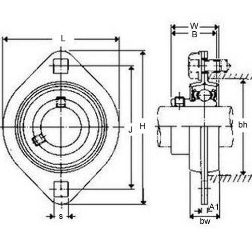 Diagram - Housings - Bearing - Flanged - 2 Bolt Hole - Pressed Metal