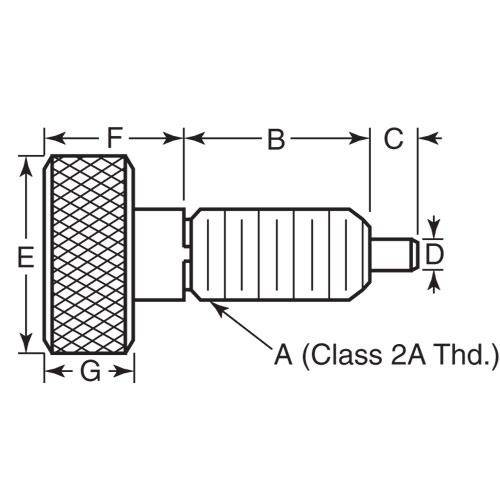 Diagram - Plungers - Spring - Knurled Handle - Non Locking - Stainless