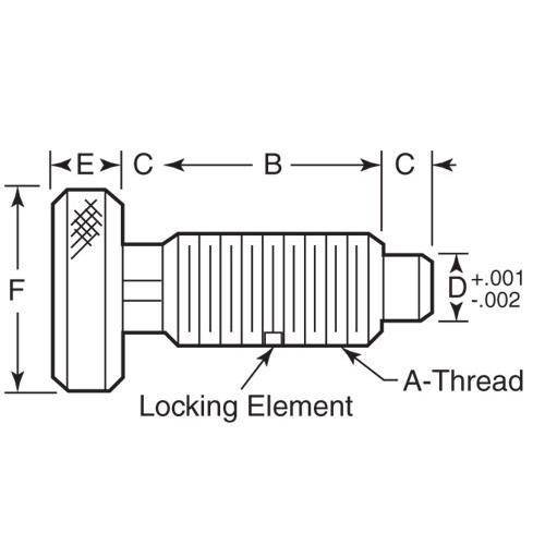 Diagram - Plungers - Spring - Knurled Handle - Locking - Stainless-Phenolic