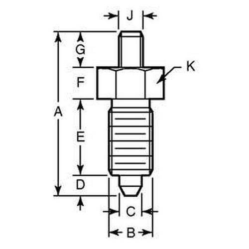 Diagram - Plungers - Indexing - Non Locking - Without Knob - 303 Stainless Steel