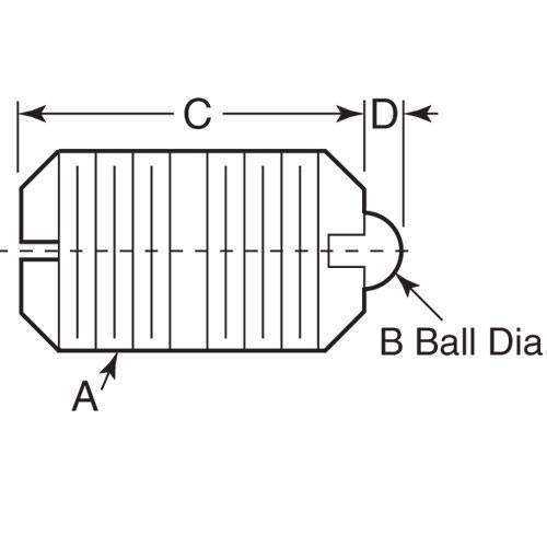 Diagram - Plungers - Ball - Threaded - Acetal Body and Nylon Ball