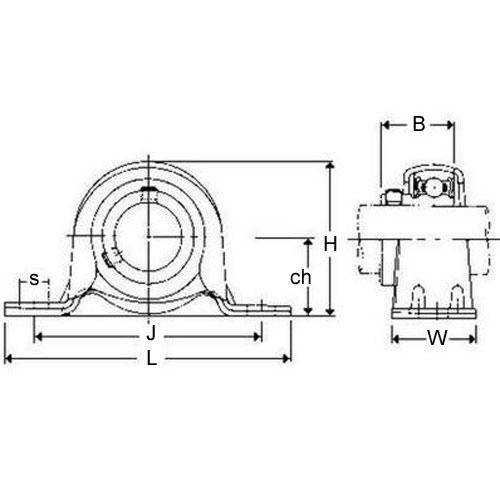 Diagram - Housings - Bearing - Pillow Block - Pressed Metal