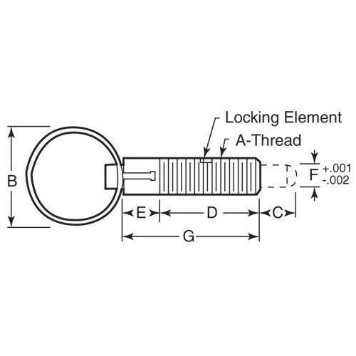 Diagram - Plungers - Spring - Pull Ring - Locking - Stainless-Acetal