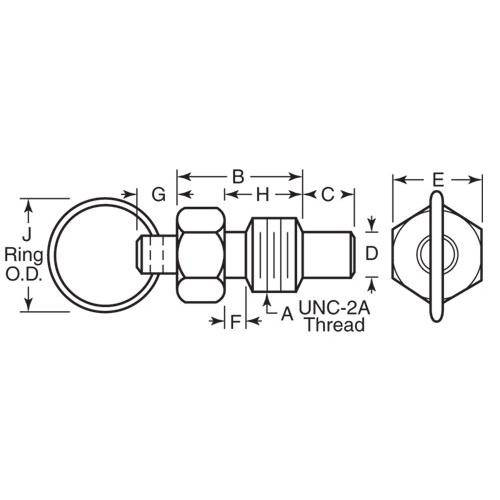 Diagram - Plungers - Spring - Ring Handle - Non Locking - Steel-Phenolic