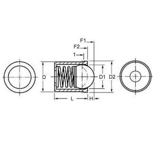 Diagram - Plungers - Ball - Push Fit - 303 Stainless Steel