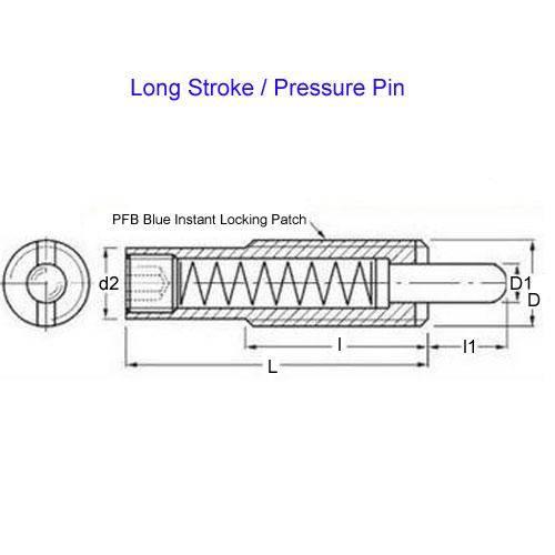 Diagram - Plungers - Spring - Threaded - Steel - Long Stroke