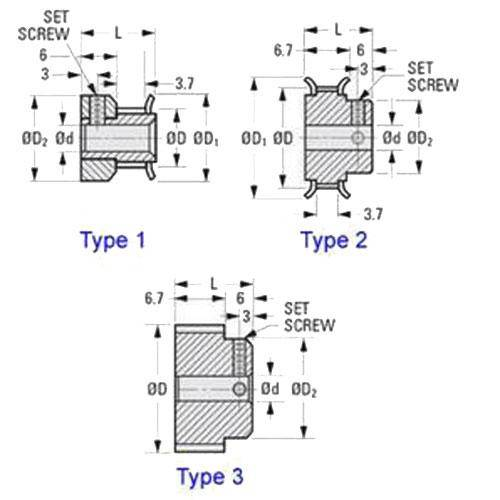 Diagram - Pulleys - Timing -  1.000mm Pitch - 3mm Wide - Through Bore