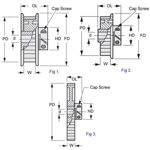 Diagram - Pulleys - Timing -  3.000mm Pitch - GT2 -  9mm Wide - EZ-Lock