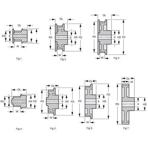 Diagram - Pulleys - Timing -  3.000mm Pitch - GT2 -  9mm Wide - Plastic - Plain