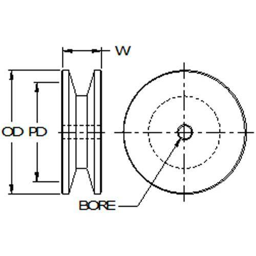 Diagram - Pulleys - Vee - A - 4L - Single Row - Through Bore - Aluminium
