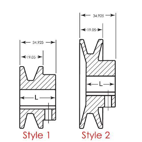 Diagram - Pulleys - Vee - M - 3L - Single Row - Through Bore - Cast Iron