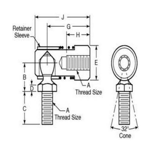 Diagram - Rod Ends - Steel - Studded - Quick Disconnect - Female