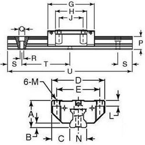 Diagram - Rail Systems - Type 1 - Linear - Precision - Carriages - Flanged