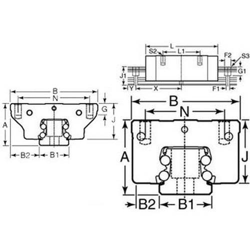 Diagram - Rail Systems - Type 3 - Linear - Precision - Carriage - Carbon Steel - Narrow