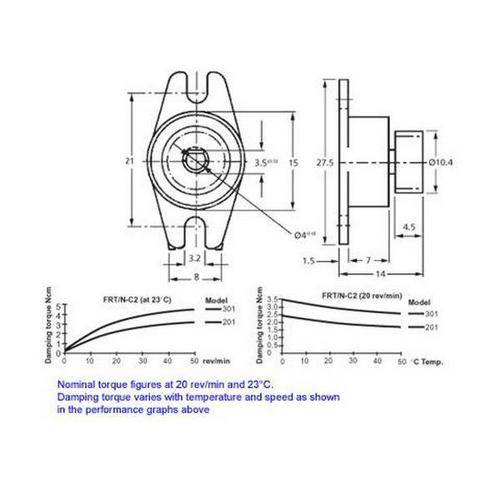 Diagram - Dampers - Rotary -  2.0 to 3.0 Ncm