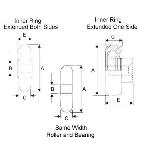 Diagram - Rollers - Nylon Tyre - Convex - Through Bore